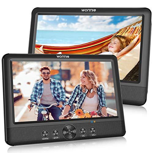 WONNIE 2 10.5 Zoll DVD Player Tragbare Auto Zwei Monitore Player mit Leistungsstarke Stereo Lautsprechern, 1024 * 600 HD Kopfstützenhalterung Dual Bildschirm, USB/SD/AV IN&Out(2 DVD-Spieler)