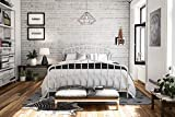 Novogratz Bushwick Metal Bed with Headboard and Footboard | Modern Design | Queen Size - White