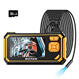 Industrial Endoscope,ROTEK 1080P HD 4.3inch LCD Screen 2600mAh Rechargeable Battery Borescope, IP67 Waterproof Inspection Camera with 32GB TF Card 6 LED Lights Digital Video Handheld Endoscope(16.4ft)