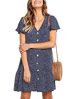 Material: ppt+nylon+visoose,lightweight and skin-friendly, comfortable to wear. Design: button front dress/ruffle mini dress/polka dot print/v-neck/ruffle bottom/loose Fit/flowy dress/womens summer dress/womens casual dress/bohemian/party/beach/ This...