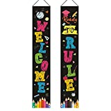 Amzmart Back to School Decorations, Welcome Back to Rule Hanging Banner, Reusable and Washable Welcome Back to School Porch Sign, Welcome Back to Rule Porch Banner, 71''H x13'' W