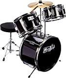 Music Alley 3 Piece Kids Drum Set with Throne, Cymbal, Pedal & Drumsticks, Metallic Black, (DBJK02-BK)