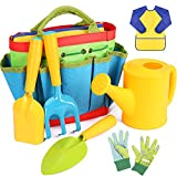 【Complete Gardening Tools for Kids】 - All-in-one garden tool kit includes kid-sized hand trowel, shovel, rake, watering can kids smock and carrier tote bag. These kids gardening set will be a snap to find in the garden or sandbox, and they look just ...