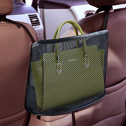 51Hj8JSIInL 【Effect】This car organizer can completely cover the gap between the front two seats, and put more things in.Fits most sizes of handbag. The car net pocket handbag holder provides extra storage space for your items like handbag, purse, tablet, magazine, snacks, drinks ect.. 【Safe Driving and Help as Barrier】Net Pocket Handbag Holder helps reduce distracted driving by providing easy access to your purse contents without taking your eyes off the road. It eliminates the need for inconvenient purse placement at your passenger's feet.It is also a special barrier that prevents naughty kids or pets in the back seat disturbing your daily drives. 【Easy to Install】 No need extra tools or other complex install steps,no drilling nor stickers required, the installation of this car organizer is very simple. Just takes a few minutes you can install the ropes.