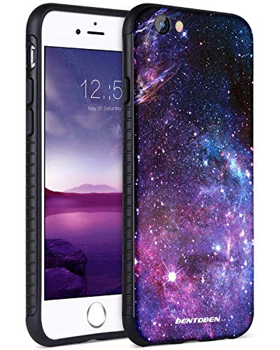 BENTOBEN iPhone SE 2020 Case, iPhone 8 Case, iPhone 7 Case, Slim Hybrid Hard PC Soft TPU Bumper with Space Nebula Galaxy Stars Pattern Shockproof Protective Phone Case for iPhone 7/8/SE 2020, Purple