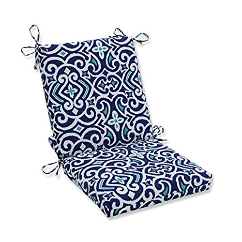 Pillow Perfect Outdoor | Indoor New Damask Marine Squared Corners Chair Cushion,Blue,36.5' x 18'