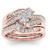 Cotonie Women Ladies Vintage Diamond Rhinestone Twisted Engagement Wedding Band Bridal Ring Set (Rose Gold, 9)