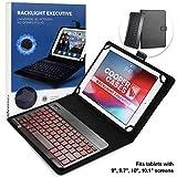 Cooper Backlight Executive Keyboard Case for 9'', 10'', 10.1'' inch Tablets   2-in-1 Bluetooth Wireless Backlit Keyboard, 7 Color Keys (Blue)