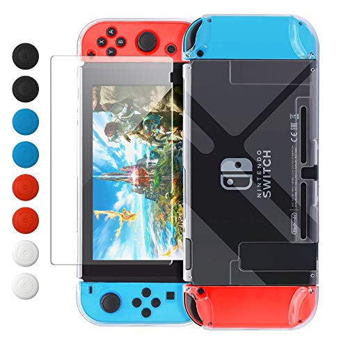 Dockable Case Compatible with Nintendo Switch, FYOUNG Protective Accessories Cover Case Compatible with Nintendo Switch and Nintendo Switch Joy-Con with Thumbstick Caps- Clear