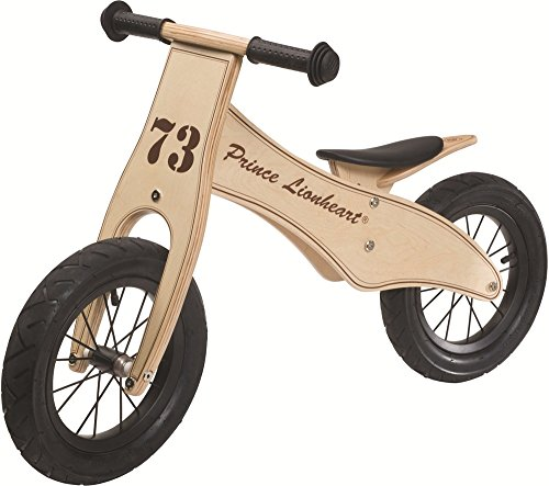 Prince Lionheart 12 inches Wheels Wooden Lightweight No-Pedal Balance Bike for Toddlers with Adjustable Height padded Seat 100% made of Birch Wood 2-5 Years Old Max Weight 65lbs
