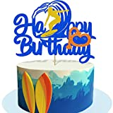 Glorymoment Surf Birthday Cake Topper, Glitter Happy Birthday Sign Cake Topper for Surfing Birthday Party Decorations, Surf Up Cake Topper for Girls Boys Kids Surfer BDAY Party Supplies(6.7'' x 5.08'')