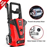 iRozce Pressure Washers 3000 PSI 1.85 GPM Max Electric Power Washer with Metal Adapter, Adjustable Nozzle, Build-in Detergent Tank for Driveway, Deck, Patio Furniture, Cars Washing, Red