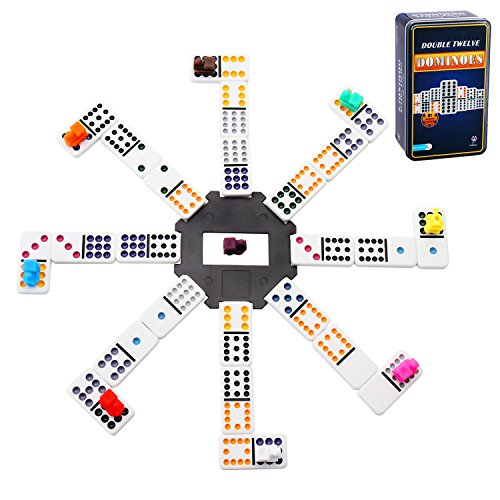 Doublefan Mexican Dominoes, Color Double 12 Dominoes 91 Tiles