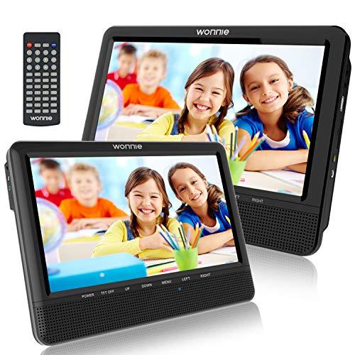 """WONNIE 10\"""" Auto DVD Player 2 Monitore Auto Tragbarer DVD Player Kopfstütze Fernseher 2 Bildschirm mit 5 Stunden Akku, unterstützt USB/SD/AV IN & Out (1Host +1 Slave)"""