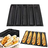 Hovico Silicone Baguette Pan Molds,5 Holes Non-stick Perforated Fench Bread Pan Forms,Reusable Bakery Trays Baking Liners Mat Bread Mould