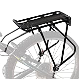 Bike Cargo Rack w/Bungee Cargo Net & Reflective Logo Universal Adjustable Bicycle Rear Luggage Touring Carrier Racks 55lbs Capacity Quick Release Mountain Road Bike Pannier Rack for 26'-29' Frames