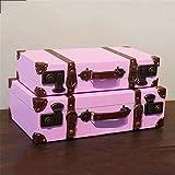 Vobajf Cajas de almacenaje Portátil de Madera Maleta de Equipaje Tienda de Ropa apoyos de la fotografía Ornamentos de decoración Cajas de Almacenamiento (Color : Pink, Size : 2pcs)
