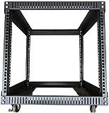 TECHTOO Server Rack 9U Standing Open Frame Rack with 4 Wheels 4 Posts 19Inch Server Equipment Rack Heavy Duty Cold Rolled Steel for Network Servers & AV Gear (9U)