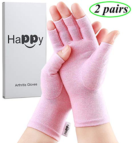 2 Pairs Compression Arthritis Gloves, Fingerless Gloves for Women Rheumatoid & Osteoarthritis - Joint Pain and Carpel Tunnel Relief Hand Gloves for Men (Pink, Medium-2 Pairs)