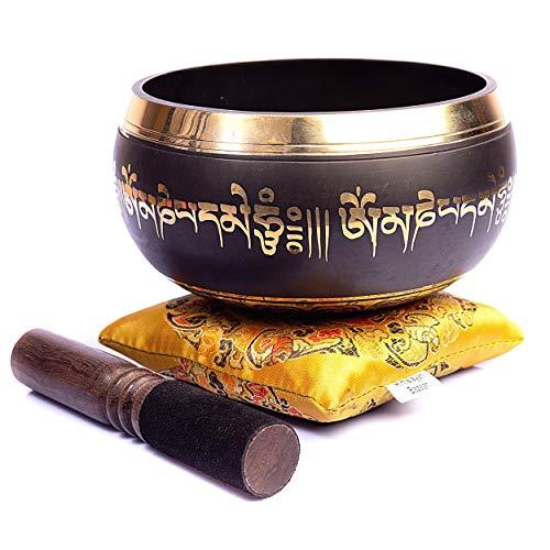 Himalayan Bazaar - Set con campana tibetana, facile da suonare, realizzato a mano, per meditazione tramite il suono, 10cm, per la guarigione dei 7 chakra