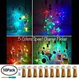 Wine Bottle Lights with Cork,LoveNite 10 Pack Battery Operated 10 LED Cork Shape Silver Copper Wire Colorful Fairy Mini String Lights for DIY,Party,Decor,Christmas,Halloween,Wedding