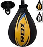 RDX Pera de Boxeo Cuero, MMA Boxeo Punching Velocidad Bola con Eslabón Giratorio, Peras Rapida Speed Bag para Kick Boxing Gimnasio Saco Boxe Fitness Gym Combate Deporte Conjunto de Entrenamiento Ball