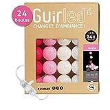 Guirlande lumineuse boules coton LED USB - Chargeur double USB 2A inclus - 3 intensités - 24 boules - Tagada