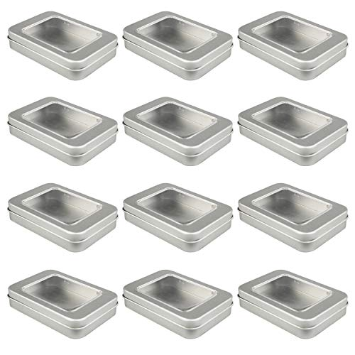 Empty Rectangular Silver Metal Storage Organizer Tins with Clear Window Hinged Lids for Candies, Gifts & Treasures (12 Pack)