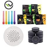 Hookah Accessories Set with 100 Charcoal Coal Tablets, 50 Disposable Mouth Tips, Hydro Herbal Molasses 5 Flavor Assortments, 100 Pre-Punched Aluminum Foil Covers with Holes