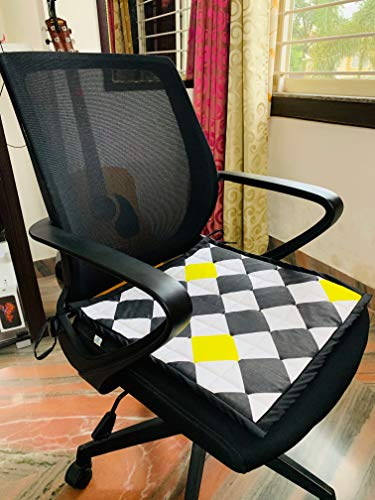 DesignMe Essentials Revolving Chair Seat Cover/Mat/Pad for Office Home for Sweat Free Seating| 100% Cotton | with Foam | Comfortable for Leather Chairs| Chess Checks | Hygienic| Washable