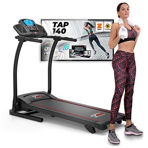 YM TAP140 Tapis Roulant elettrico Pieghevole 14 km/h, Bluetooth APP Kinomap e Zwift, Sensore Cardiaco, Audio e Altoparlanti, Inclinazione, Display Multifunzione 2 HP (3,5 HP PICCO), Supporto Tablet