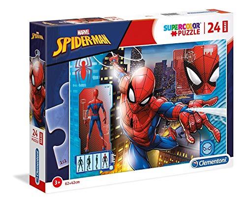 Clementoni- Supercolor Puzzle-Spider Man-24 Pezzi Maxi, Multicolore, 28507
