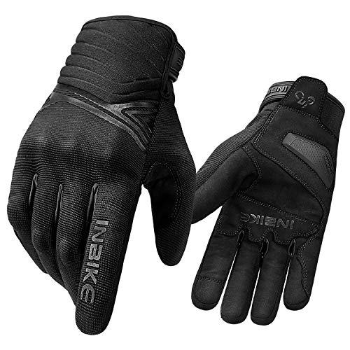 INBIKE Motorradhandschuhe Herren Damen Winter Radlerhandschuhe Männer Schutz Motorrad Handschuhe Wassderdicht Mit Harter Baumwolle Für Motorrad Radfahren Motocross Schwarz XL (IM902W)