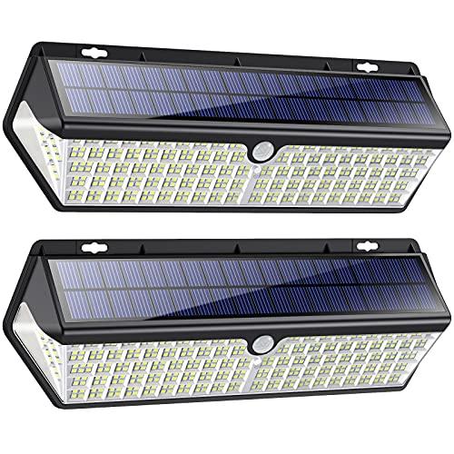 418LED Luce Solare Led Esterno3500 Lumen Ultra Luminosa4400mAh Lampada Solare conUSB Ricaricabile, Lampade Solari a Led da Esterno di Movimento 3 Modalit Luci Solari Impermeabile IP65