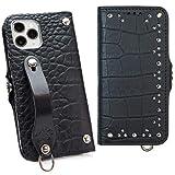 トライアングルインレイ iPhone 12 Pro / 12 手帳型 ケース エンボスクロコ ブラック MSカード……