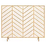 Best Choice Products 38x31in Single Panel Handcrafted Iron Chevron Fireplace Screen w/Distressed Antique Copper Finish