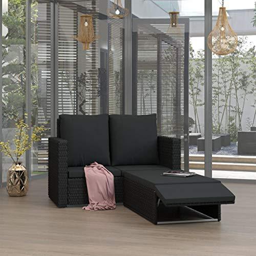 Tidyard Gartensofa 2 Sitzer Poly Rattan mit Auflage und Klappbare Fußstütze, Garten Lounge Set, Balkonset Balkonmöbel Gartenliege Relaxliege Gartenmöbel, 2-TLG Schwarz