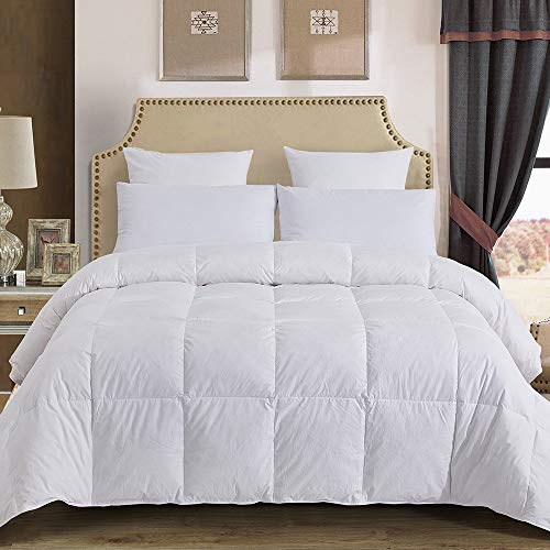 Decroom 100% Cotton Quilted Down Comforter with White Goose Duck Down Feather Filling-Lightweight Duvet Insert- King