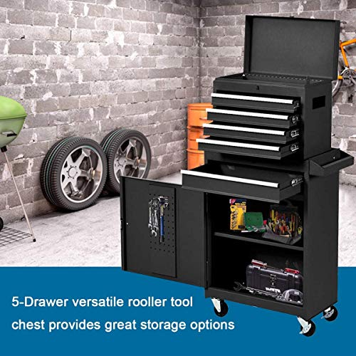 Product Image 3: Compact Tool Box Chest Combo 5 Drawer Mechanic Tool Box Small Heavy Duty Rolling Tool Chest on Wheels Tool Cabinet Organizer with Lockable Drawers Tool Chest Black