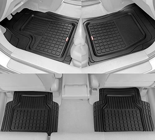 BDK Performance Plus Rubber Car Floor Mats - Heavy Duty Semi-Custom Fit (Black) - All Weather Protection Mat, Model: MT-170-BK