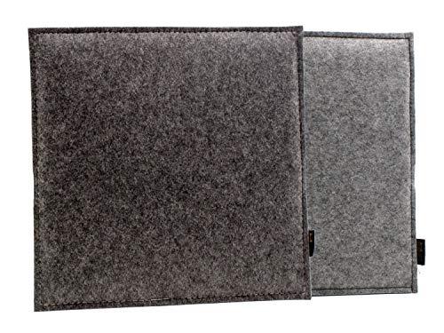 Luxflair Eckiges Filz Wende-Sitzkissen in dunkelgrau/Graumeliert. Waschbare Sitzauflage mit Füllung für Stuhl und Bank, Outdoor-beständig. Edles Sitzpolster ca. 35x35cm groß passend für Eames Stuhl