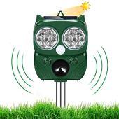 Repellente Gatti, Repellente Ultrasuoni Energia Solare IP66 Impermeabile a Frequenza Regolabile per Allontanare Animali 5 Modalità Regolabile Repeller Animali Ultrasound Repellente