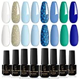 Orna Beauty Esmalte de Uñas Semipermanente,8 Colores Azul Marino Serie Azul...