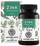 NATURE LOVE Zink - 365 Tabletten (1 Jahr) - Hochdosiert (25mg): Zink-Bisglycinat (Zink Chelat) von Albion - Hoch bioverfügbar, vegan, laborgeprüft, in Deutschland produziert