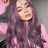 K'ryssma Lavender Purple Lace Front Wig Natural Looking Wavy Long Synthetic Wigs Glueless 22 Inches Long Purple Wig for Women