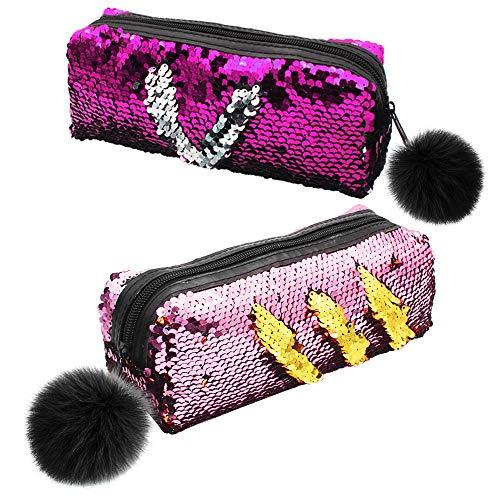 2 Pacchi Astuccio Reversibile con Paillettes a Sirena Astuccio con Flip Glitter per Ragazze, Borsa Cosmetica Glitterata per Ragazze Donne