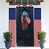 MAIAGO 2Pcs Patriotic Decorations, 4th of July Decorations Porch Sign, American Flag Wall Hanging...