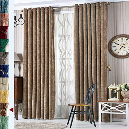 MacoHome Espresso Velvet Blackout Curtains Thermal Insulated Ertra Broad Curtains for Dwelling Room Espresso,100 x 96 inch x 2 Panels(NOT Full Blackout)
