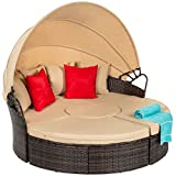 Best Choice Products 5-Piece Modular Patio Wicker Daybed Sectional Conversation Lounger Set w/ 2-in-1 Setup, Adjustable Seats, Clips, Retractable Canopy, Cover, Weather-Resistant Cushions - Beige