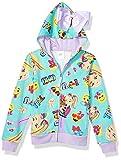 JoJo Siwa Girls' Little Emoji Characters Zip Up Hoodie with Bow on Hood, Neon Green/Pink, S-7